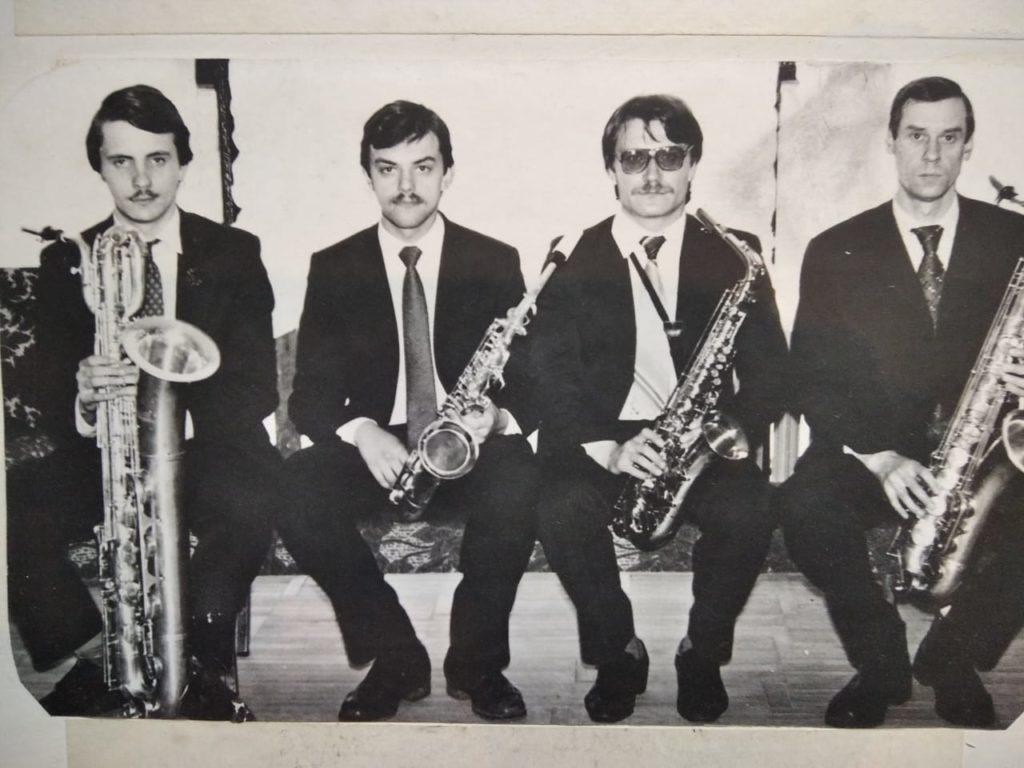 А.Галковский, М.Фёдоров, В. Шван, В.С. Шевельков (слева направо). 1985 г.